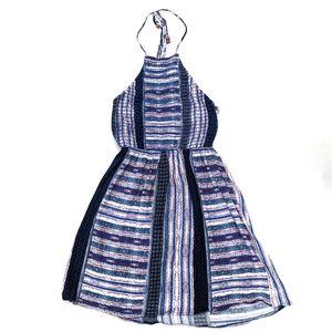 Lulu's Purple Striped Boho Halter Dress sz M 43684